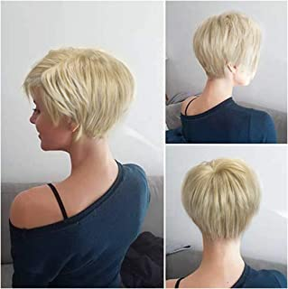 Lady Miranda Mixed Color Gold-Blonde Short Layer Natural Pixie Cut Hair with Bangs Synthetic Wig Heat Resistant Weave Full Wigs for Women (Gold Blonde Mixed)