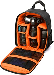 Hamkaw Camera Backpack Waterproof Shockproof Compact Camera Bag with Multi Compartment Compatible with Lenses SLR DSLR Canon Nikon Sony Pentax Orange