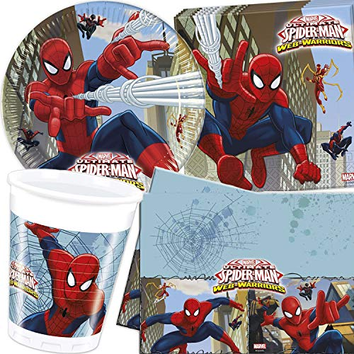 Procos/Carpeta 62-TLG. Party-Set * Spiderman Web Warrior * mit Teller + Becher + Servietten + Tischdecke | Deko Kinder Geburtstag Kindergeburtstag Motto Marvel Held