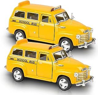 ArtCreativity Pullback Suburban School Bus Set, Includes 2, 4.75 Inch School Buses, Diecast Bus Playset with Pull Back Mec...