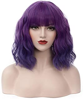 "BUFASHION 14"" Women Short Wavy Curly Wig Ombre Purple Bob Wig Cosplay Halloween Synthetic Wigs With Neat Bang Wig With Fre..."