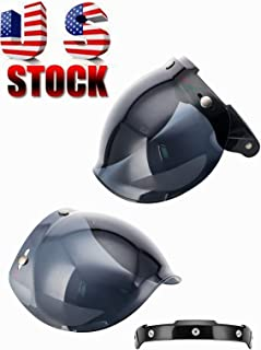MotorFansClub 3-Snap Bubble Shield Visor Street Motorcycle Helmet Accessories with Removable Flip Adapter Universal (Dark Smoke, One Size)