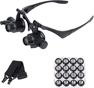 ESAKO Magnifying Glasses Jeweler Watch Repair Loupe with 2 LED Lights & 8 Interchangeable Lens 2.5X/4X/6X/8X/10X/15X/20X/25X