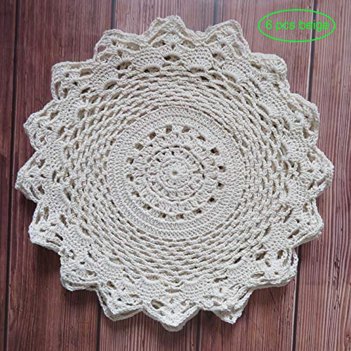 Ouyatoyu 6pcs 12' Doilies Cloth Lace Crochet Doilies Place Mats for Kitchen...
