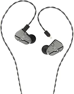 RevoNext Audio QT5 Professional in Ear Headphones with Detachable Cable Noise-Isolating in Ear Monitors 1DD+1BA Metal Housing (Gun Color no MIC)