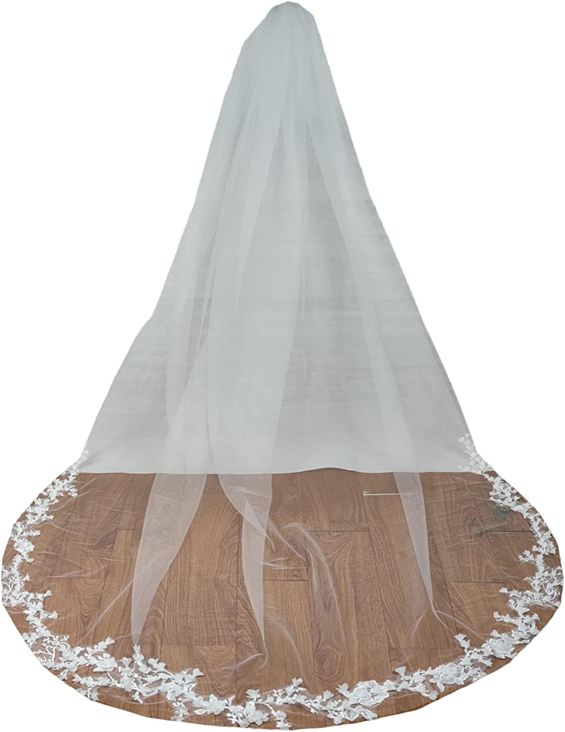 Weddings Veils 1 Tier Cathedral Full Floral Egde Appliques Long Lace with Comb