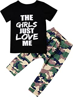 Toddler Baby Boy Clothes King Short Sleeve Black T-Shirt +Camo Pants Outfits Tops Set