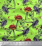 Soimoi Grun Baumwoll-Voile Stoff Blumenkorb und Fahrrad