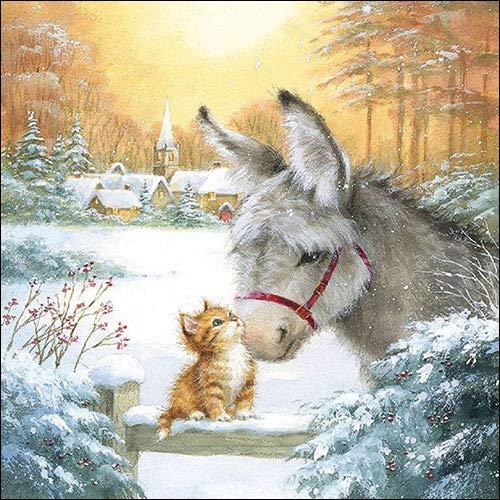 Papier Servietten Lunch Fest Party ca 33x33cm Herbst Autumn Weihnachten Winter Donkey And Kitten