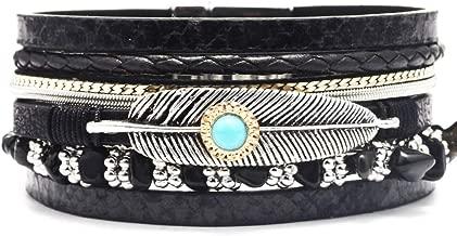 Juland Punk Braided Rope Alloy Bracelet Bangle Wristband Genuine Leather Womens Leather Bracelet Leaf Wristbands Multilayer Wide Cuff Leather Wrap Adjustable - Black