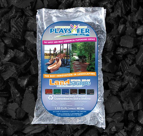 Playsafer Black Rubber Mulch 77 Cu. Ft. - 2000 Lbs. Pallet - 50 Bags
