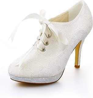 37091 Women's Bridal Shoes Closed Toe High Heels Satin Platform Pumps Ribbon Tie Wedding Shoes