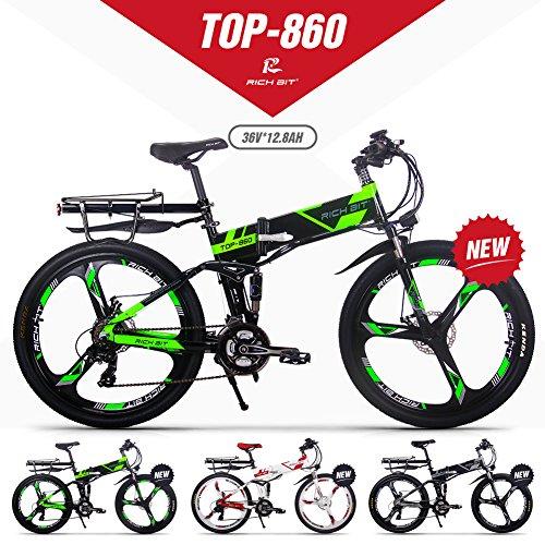 GUOWEI Rich Bit RT-860 36V 12.8AH 250W Bicicletta elettrica Pieghevole a Sospensione Completa City Bike (Black-Green)