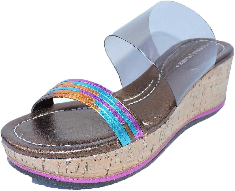 Donald J Pliner Womens Sabrina Platform Wedge Fuchsia Metallic Vinyl 2.25  Heels Combo Sandals Size 9 N, AA