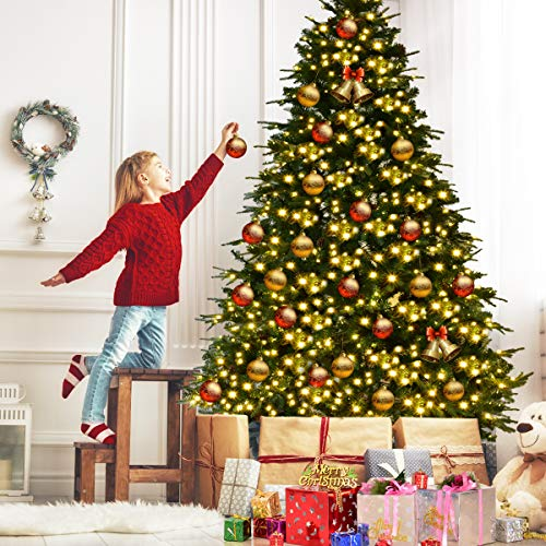 Goplus 8FT Pre-Lit Christmas Tree, Artificial Spruce Hinged Tree w/ 600 LED Lights and Pine Cones, Xmas Tree for Indoor Decor