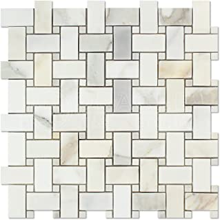 Calacatta Gold (Italian Calcutta) Marble Basketweave Mosaic Tile with Calacatta Gold Marble Dots, Polished