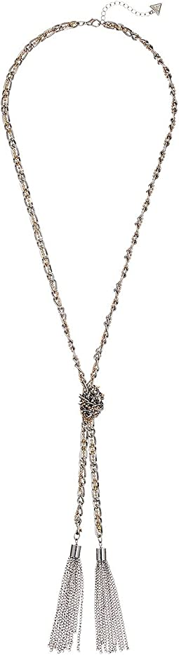 GUESS - Twisted Mixed Metal Chain Knot Necklace with Tassel