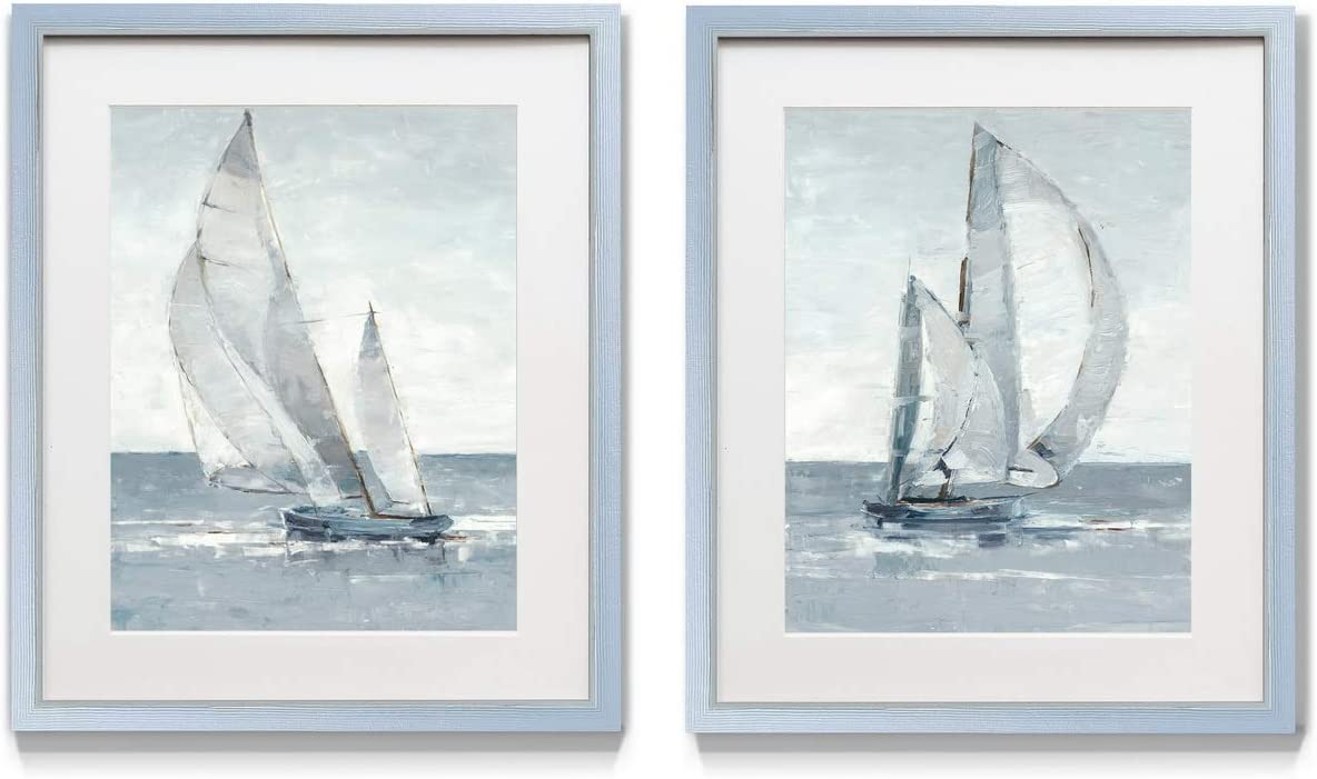 Renditions Gallery Grey Seas 2 Piece Framed Artwork Set, Pair of Sailboats, Blue, Grey, Boating, Sailing Decor, Silver Frame, White Mat & Plexiglass, 16 in W X 20 in H, Made in America