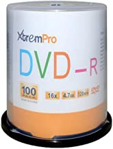 XtremPro DVD-R 16X 4.7GB 120Min DVD 100 Pack Blank Discs in Spindle - 11033