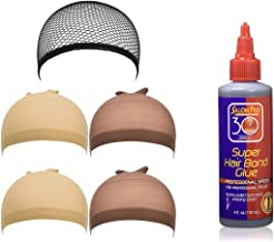 IGS 5 pack Wig Caps Black Mesh Cap, Beige Wig Cap, Light Brown Wig Cap (Including Salon Pro 30 Second Bonding Glue, 4 Ounce) Hair Extension Styling Wig Making Bonding Glue Kit