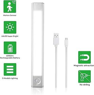 Herefun Luz Armario 60 LED Sensor Luz del Armario Movimiento sensor Luz Interiores Armario, USB Recargable Luces Armario para Gabinete Escalera, Pasillo, Cocina [Clase de eficiencia energética A+]