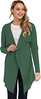 Womens Cardigan Knit Sweater for Women Solid Color Lapel Neck Long Sleeve Waist Belt Kimono Coat with Pockets