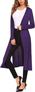 Women's Long Duster Casual Open Front Long Sleeve Cardigan with Pocket