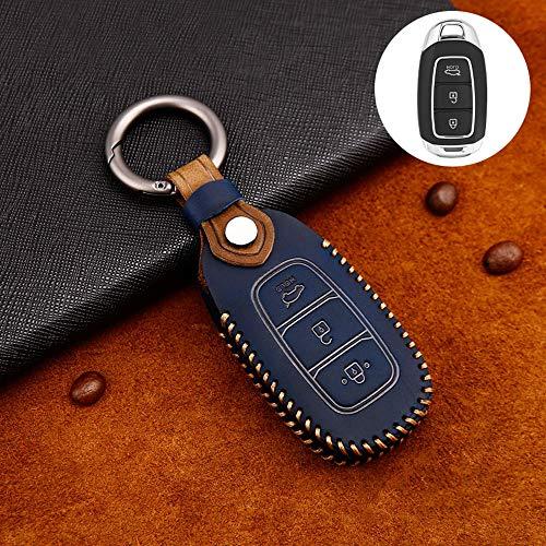 ontto Rindsleder Autoschlüssel Hülle Cover für 2017-2019 Hyundai Veloster Kona Solaris i30 Ix35 Santa Fe Azera Schlüsselhülle mit Schlüsselanhänger Schlüssel Schutz Etui Fernbedienung 3 Tasten-Blau