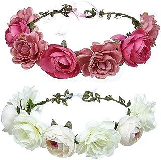 Cinta para el cabello,corona de flores,Flor Hecha a Mano Diadema Corona Floral,ajustable,Novia Corona Boda Halo Guirnalda Floral Bandas Para La Cabeza Casco,para mujer o niñas-2 piezas