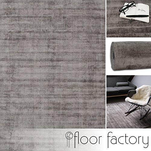 floor factory Moderner Teppich Lounge grau 200x200cm - edler Designer Teppich im Vintage Look