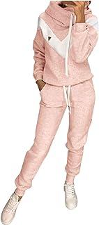 SDGF Damen Trainingsanzug Jogginganzug Sportanzug Fitness Kapuzen Hoodie 2 Stücke Set Outfit Sport Yoga Fitness Bodycon Sl...