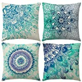 Gspirit 4 Pack Bohemia Mandala Algodón Lino Throw Pillow Case Funda de Almohada para Cojín 45x45 cm