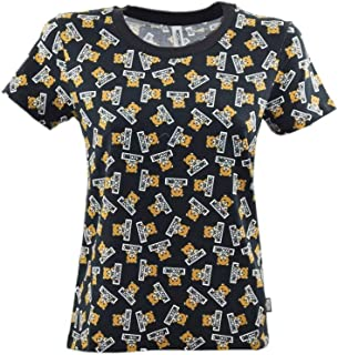 MOSCHINO Women's Black All Over Bear Short Sleeve Logo T-Shirt