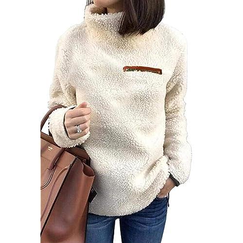 f1fed855f6db4 onlypuff Womens Sweatshirt Soft Fleece Pullover Outwear Jacket Coat