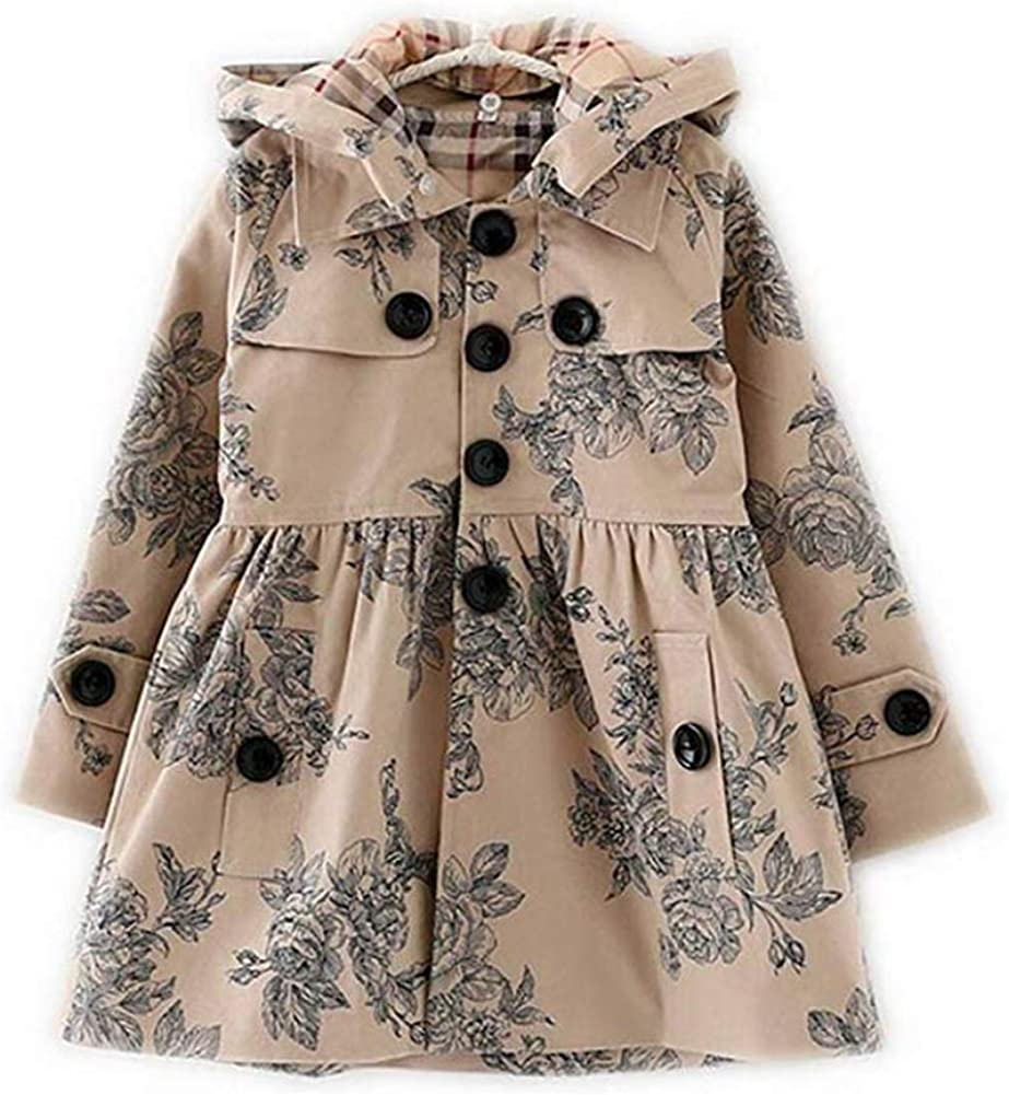 LSERVER Little Girls A-line Single Breasted Hooded Cotton Trench Coat Jacket, Pattern Khaki, 6-7 Year