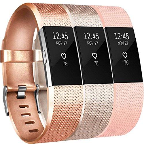 Yandu pour Fitbit Charge 2 Bracelet (3 Pack), Charge 2 Sport Remplacement Bracelet avec Boucle en Acier Inoxydable Classique pour Fitbit Charge 2(3PC(Champagne+Rosegold+Blush Pink),S)