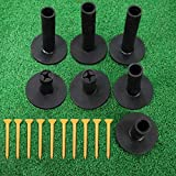 FINGER TEN Golf Rubber Tees Driving Range 3 Inch 1.5'' 2.25'' 2.75'' 3.13'' Tee Holder for Mat 1.5'' 2'' with Plastic Tees Indoor Outdoor Use (Black 17-Piece Set)