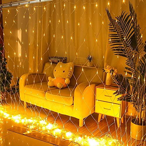 ZXAOYUAN Luces de Ventana Luces LED, 2 Metros * 3 Metros 192 Luces (Ocho Funciones con tapón de Cola), usadas para Navidad, Boda, Dormitorio, Fiesta, cumpleaños