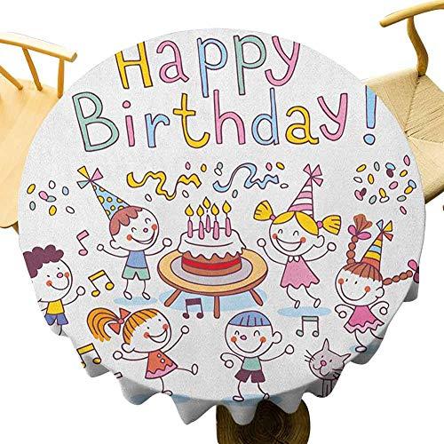 VICWOWONE - Mantel de cumpleaños para niños, 55 pulgadas, mesa redonda de cafetería, jardín de infancia, celebración festiva, configuración de vela, color multicolor