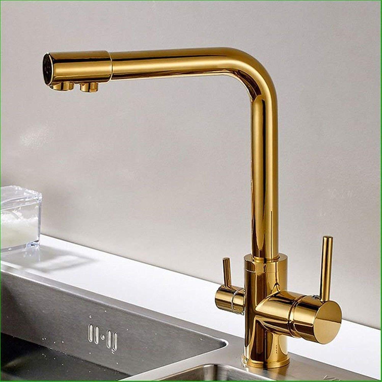 Küchenmischer Armaturen aus massivem Messing Gold plattiert reines Wasser ist Doppelte Hebel Küchenspüle Wasserhahn Waschbecken Mixer Waschbecken Wasserhahn (Farbe   -, Gre   -)
