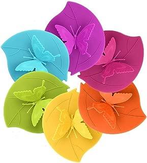 CREATESTAR Tapas de cierre hermético para tazas, antipolvo, silicona, diseño de mariposas, 6 unidades