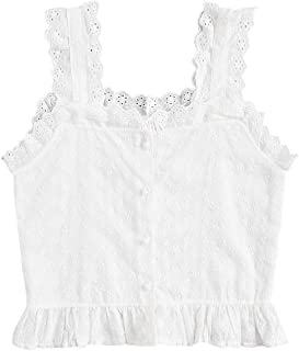 Women's Sleeveless Ruffle Lace Embroidered Button Up Cami Tank Top Blouse