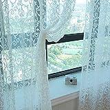 Cortina de tul con estampado floral con base de plomo liso para dormitorio o sala de estar, 1unidad, blanco, 280cm x 100 cm