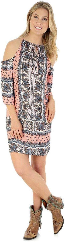 Wrangler Women's Patterned Cold Shoulder Dress pink Multi XLarge