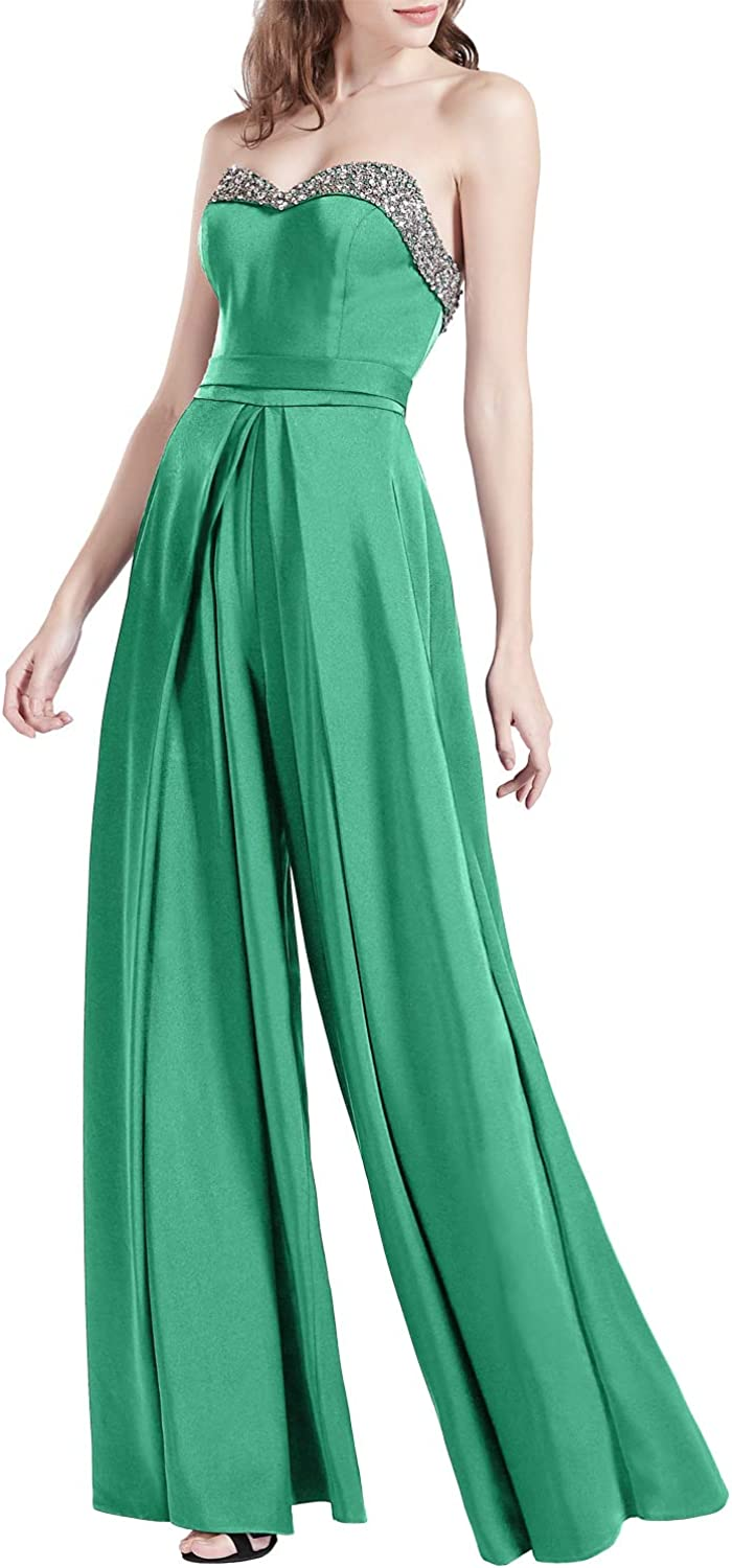MACloth Women Strapless Beading Jumpsuit Prom Dresses Wedding Party Guest Gown