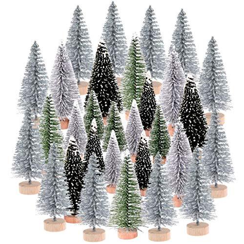 WayJaneDTP 30Pcs Christmas Mini Ornaments Kits, Miniature Christmas Tree Ornaments Set Dollhouse Landscape for Christmas Decoration Ornaments Winter Decoration, 3 Size