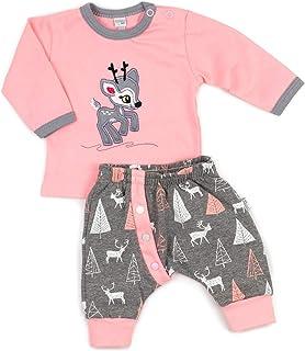 Koala Baby Koala Baby 2-tlg. Babykleidung Set Shirt und Hose/Baby Mädchen Kleidung Set/Erstlingsausstattung im Rehkitz-Motiv in rosa-grau/Baby Kleidung Erstausstattung in Größe: 80 9-12 Monate