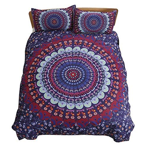 Koongso Juego de ropa de cama bohemia de la luz de la luna de color azul bohemio bonito regalo liso de sarga para el hogar textiles juego de funda de edredón Super King Size