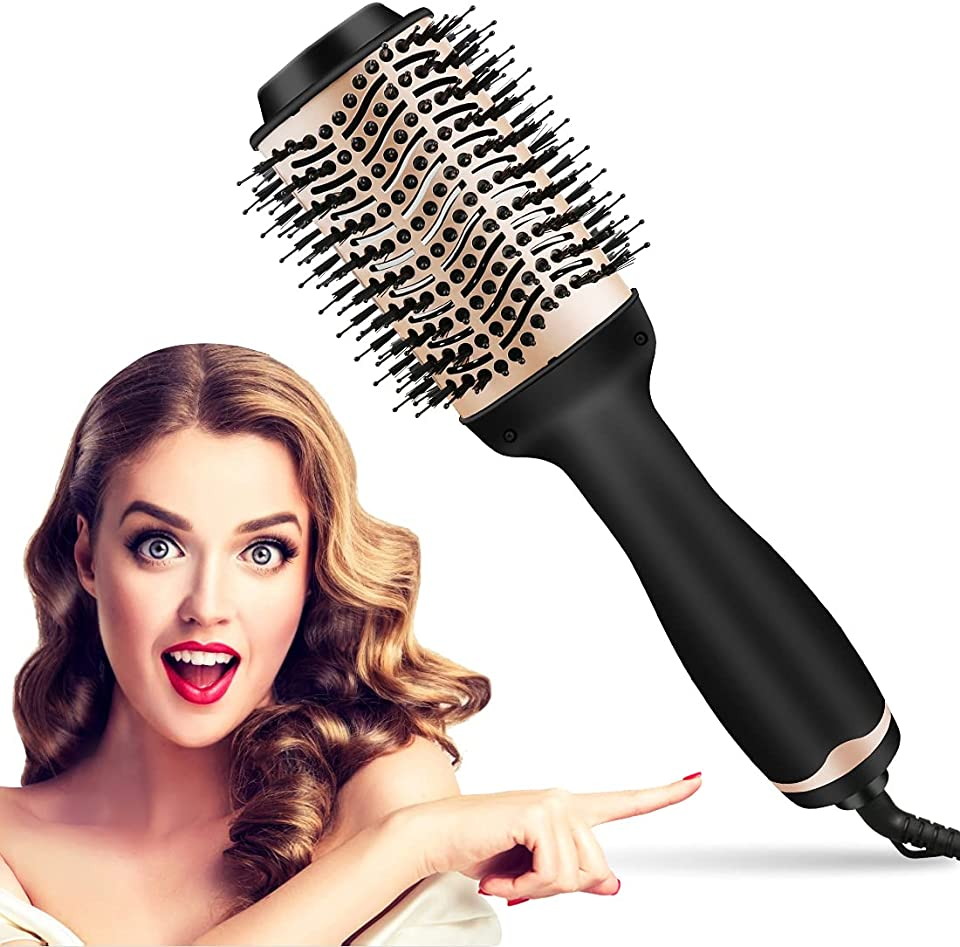 Hair Dryer Brush,Hot Air Brush, Multi-Functional 3-in-1Professional Dryer & Volumizer,Heated Rollers and Curling Iron with Ceramic Coating and Negative Ion Technology,Suitable for All Hair Types