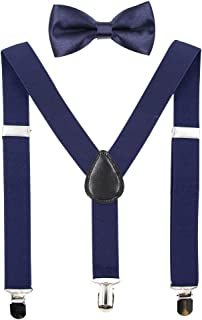 Hanerdun Kids Suspenders and Bowtie Suspender Set for Boys and Girls (Two Sizes)